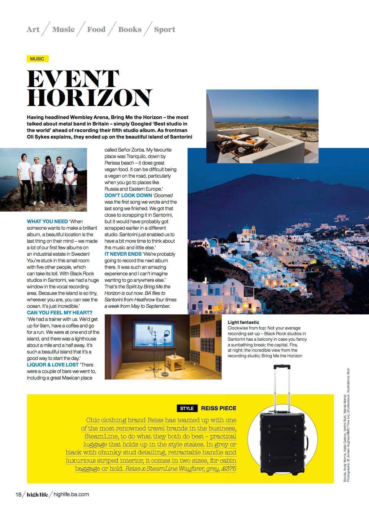 Thanks to British Airways High Life magazine for having us